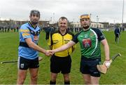 4 February 2016; University College Dublin captain Conor O'Shea, from Kilkenny, and Limerick Institute of Technology captain James Maher, from Kilkenny, exchange a handshake in the company of referee Diarmuid Kirwan before the game. Independent.ie HE GAA Fitzgibbon Cup Group A, Round 2, Limerick Institute Technology v University College Dublin. LIT, Limerick. Picture credit: Diarmuid Greene / SPORTSFILE