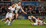 5 February 2016; Craig Gilroy, Ulster, tries to get the ball to Paul Marshall and Roger Wilson. Guinness PRO12, Round 12, Refixture, Ulster v Newport Gwent Dragons, Kingspan Stadium, Ravenhill Park, Belfast, Co. Antrim. Picture credit: Oliver McVeigh / SPORTSFILE