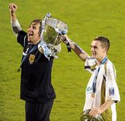 22 November 2009; Robbie Doyle, left, and Shaun Williams, Sporting Fingal, celebrate with the cup. FAI Ford Cup Final, Sligo Rovers v Sporting Fingal, Tallaght Stadium, Dublin. Picture credit: Stephen McCarthy / SPORTSFILE
