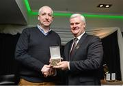 "5 February 2016; Uachtarán Chumann Lúthchleas Gael Aogán Ó Fearghail presents Fergal Lynch, Meath Chronicle, with the Provincial Media Award for his article ""Alan Nestor, my cancer battle"". 2015 GAA MacNamee Awards. Croke Park, Dublin. Picture credit: Piaras Ó Mídheach / SPORTSFILE"