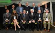 5 February 2016; Uachtarán Chumann Lúthchleas Gael with 2015 MacNamee Awards winners, back row, from left, Éamonn Ó Cualáin, Seán Ó Cualáin and Dara Ó Cinnéide, Gradam Gaeilge Award, Fergal Lynch, Meath Chronicle, Provincial Media Award, Tommy O'Connor, Best GAA Publication Award, Noel Duffy, Monaghan PRO, Best GAA Website Award and Henry Barrett, former Kildare PRO, Best GAA Programme Award. Front row, Kevin Casey, WLR FM, Best GAA related Radio Programme, Marie Crowe, Sunday Independent, National Media Award, Weeshie Fogarty, Radio Kerry, GAA Hall of Fame Award, Oliver McDonald, Best GAA Club Publication Award, and Martin Rowe, Best Photograph Award. 2015 GAA MacNamee Awards. Croke Park, Dublin. Picture credit: Piaras Ó Mídheach / SPORTSFILE
