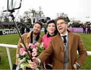 6 February 2016; Pictured is TV Presenter & Style Entrepreneur Darren Kennedy takes a selifie with the winners of Powerscourt Hotel Style Awards Most Stylish Lady and Most Edgy Gentleman Laura Jayne Halton, from Maynooth, Co. Kildare and Dylan Martin, from Denver, Colorado, USA. Powerscourt Hotel Resort & Spa was delighted to partner with Irish Gold Cup Day at Leopardstown on February 6th 2016, one of the most prestigious and glamorous race days in the National Hunt Season. The overalll prize for Most Stylish Lady included a luxurious night's stay in the palatial Powerscourt Hotel's Presidential suite,, Dinner for two in Powerscourt Hotel's newly refurbished Sika restaurant, 2 treatments in the award winning ESPA and one year membership of Powerscourt's Leisure Club, which boasts a Swarovski crystal lit swimming pool and gym and access to the ESPA Facilities. Horse Racing from Leopardstown. Leopardstown, Co. Dublin. Picture credit: Cody Glenn / SPORTSFILE