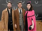 6 February 2016; Pictured is TV Presenter & Style Entrepreneur Darren Kennedy, centre, with the winners of Powerscourt Hotel Style Awards Most Stylish Lady and Most Edgy Gentleman Laura Jayne Halton, from Maynooth, Co. Kildare, and Dylan Martin, from Denver, Colorado, USA. Powerscourt Hotel Resort & Spa was delighted to partner with Irish Gold Cup Day at Leopardstown on February 6th 2016, one of the most prestigious and glamorous race days in the National Hunt Season. The overalll prize for Most Stylish Lady included a luxurious night's stay in the palatial Powerscourt Hotel's Presidential suite,, Dinner for two in Powerscourt Hotel's newly refurbished Sika restaurant, 2 treatments in the award winning ESPA and one year membership of Powerscourt's Leisure Club, which boasts a Swarovski crystal lit swimming pool and gym and access to the ESPA Facilities. Horse Racing from Leopardstown. Leopardstown, Co. Dublin. Picture credit: Cody Glenn / SPORTSFILE