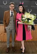6 February 2016; Pictured is TV Presenter & Style Entrepreneur Darren Kennedy, with the winner of Powerscourt Hotel Style Awards Most Stylish Lady Laura Jayne Halton, from Maynooth, Co. Kildare. Powerscourt Hotel Resort & Spa was delighted to partner with Irish Gold Cup Day at Leopardstown on February 6th 2016, one of the most prestigious and glamorous race days in the National Hunt Season. The overalll prize for Most Stylish Lady included a luxurious night's stay in the palatial Powerscourt Hotel's Presidential suite,, Dinner for two in Powerscourt Hotel's newly refurbished Sika restaurant, 2 treatments in the award winning ESPA and one year membership of Powerscourt's Leisure Club, which boasts a Swarovski crystal lit swimming pool and gym and access to the ESPA Facilities. Horse Racing from Leopardstown. Leopardstown, Co. Dublin. Picture credit: Cody Glenn / SPORTSFILE