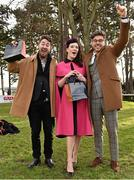6 February 2016; Pictured is TV Presenter & Style Entrepreneur Darren Kennedy, right, with the winners of Powerscourt Hotel Style Awards Most Stylish Lady and Most Edgy Gentleman Laura Jayne Halton, from Maynooth, Co. Kildare and Dylan Martin, from Denver, Colorado, USA. Powerscourt Hotel Resort & Spa was delighted to partner with Irish Gold Cup Day at Leopardstown on February 6th 2016, one of the most prestigious and glamorous race days in the National Hunt Season. The overalll prize for Most Stylish Lady included a luxurious night's stay in the palatial Powerscourt Hotel's Presidential suite,, Dinner for two in Powerscourt Hotel's newly refurbished Sika restaurant, 2 treatments in the award winning ESPA and one year membership of Powerscourt's Leisure Club, which boasts a Swarovski crystal lit swimming pool and gym and access to the ESPA Facilities. Horse Racing from Leopardstown. Leopardstown, Co. Dublin. Picture credit: Cody Glenn / SPORTSFILE