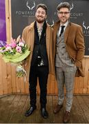 6 February 2016; Pictured is TV Presenter & Style Entrepreneur Darren Kennedy, centre, with the winner of Most Edgy Gentleman Dylan Martin, from Denver, Colorado, USA. Powerscourt Hotel Resort & Spa was delighted to partner with Irish Gold Cup Day at Leopardstown on February 6th 2016, one of the most prestigious and glamorous race days in the National Hunt Season. The overalll prize for Most Stylish Lady included a luxurious night's stay in the palatial Powerscourt Hotel's Presidential suite,, Dinner for two in Powerscourt Hotel's newly refurbished Sika restaurant, 2 treatments in the award winning ESPA and one year membership of Powerscourt's Leisure Club, which boasts a Swarovski crystal lit swimming pool and gym and access to the ESPA Facilities. Horse Racing from Leopardstown. Leopardstown, Co. Dublin. Picture credit: Cody Glenn / SPORTSFILE