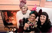 6 February 2016; Racegoers, from left, Sinéad Clarke, Angelad Quinn and Sinéad Fearan. Powerscourt Hotel Resort & Spa was delighted to partner with Irish Gold Cup Day at Leopardstown on February 6th 2016, one of the most prestigious and glamorous race days in the National Hunt Season. The overalll prize for Most Stylish Lady included a luxurious night's stay in the palatial Powerscourt Hotel's Presidential suite,, Dinner for two in Powerscourt Hotel's newly refurbished Sika restaurant, 2 treatments in the award winning ESPA and one year membership of Powerscourt's Leisure Club, which boasts a Swarovski crystal lit swimming pool and gym and access to the ESPA Facilities.Horse Racing from Leopardstown. Leopardstown, Co. Dublin. Picture credit: Cody Glenn / SPORTSFILE