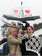 6 February 2016; Jillian Gilbourne, left, from Millstreet, Co. Cork, and Joann Murphy, from Kilgarvan, Co. Kerry. Powerscourt Hotel Resort & Spa was delighted to partner with Irish Gold Cup Day at Leopardstown on February 6th 2016, one of the most prestigious and glamorous race days in the National Hunt Season. The overalll prize for Most Stylish Lady included a luxurious night's stay in the palatial Powerscourt Hotel's Presidential suite,, Dinner for two in Powerscourt Hotel's newly refurbished Sika restaurant, 2 treatments in the award winning ESPA and one year membership of Powerscourt's Leisure Club, which boasts a Swarovski crystal lit swimming pool and gym and access to the ESPA Facilities. Horse Racing from Leopardstown. Leopardstown, Co. Dublin. Picture credit: Cody Glenn / SPORTSFILE