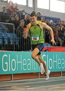 6 February 2016; Stephen Gaffney, Rathfarnham WSAF, in action during the Senior Mens Guest 200m. GloHealth National Indoor League Final. AIT, Dublin Rd, Athlone, Co. Westmeath. Picture credit: Sam Barnes / SPORTSFILE