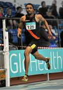6 February 2016; Chris Sibanda, Clonliffe Harriers A.C, in action during the Senior Mens League 200m. GloHealth National Indoor League Final. AIT, Dublin Rd, Athlone, Co. Westmeath. Picture credit: Sam Barnes / SPORTSFILE