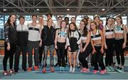 6 February 2016; Members of Donore Harriers pose for a photograph. GloHealth National Indoor League Final. AIT, Dublin Rd, Athlone, Co. Westmeath. Picture credit: Sam Barnes / SPORTSFILE
