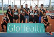 6 February 2016; Clonliffe Harriers, Mens Senior League Gold Medalists. GloHealth National Indoor League Final. AIT, Dublin Rd, Athlone, Co. Westmeath. Picture credit: Sam Barnes / SPORTSFILE