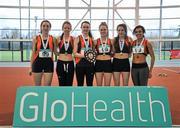 6 February 2016; Sli Cualann A.C., Women's Senior League Gold Medalists. GloHealth National Indoor League Final. AIT, Dublin Rd, Athlone, Co. Westmeath. Picture credit: Sam Barnes / SPORTSFILE