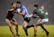 6 February 2016; Paddy Andrews, Dublin, in action against Tom Parsons, left, and Ger Cafferkey, Mayo. Allianz Football League, Division 1, Round 2, Mayo v Dublin. Elverys MacHale Park, Castlebar, Co. Mayo. Picture credit: Ray McManus / SPORTSFILE