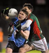 6 February 2016; John Small, Dublin, in action against Ger Cafferkey, Mayo. Allianz Football League, Division 1, Round 2, Mayo v Dublin. Elverys MacHale Park, Castlebar, Co. Mayo. Picture credit: Ray McManus / SPORTSFILE