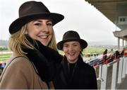 6 February 2016; Racegoers Kate O'Sullivan, left, and Ashley O'Sullivan, from Kildare. Powerscourt Hotel Resort & Spa was delighted to partner with Irish Gold Cup Day at Leopardstown on February 6th 2016, one of the most prestigious and glamorous race days in the National Hunt Season. The overalll prize for Most Stylish Lady included a luxurious night's stay in the palatial Powerscourt Hotel's Presidential suite,, Dinner for two in Powerscourt Hotel's newly refurbished Sika restaurant, 2 treatments in the award winning ESPA and one year membership of Powerscourt's Leisure Club, which boasts a Swarovski crystal lit swimming pool and gym and access to the ESPA Facilities. Horse Racing from Leopardstown. Leopardstown, Co. Dublin. Picture credit: Cody Glenn / SPORTSFILE