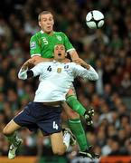 10 October 2009; Richard Dunne, Republic of Ireland, in action against Giorgio Chiellini, Italy. 2010 FIFA World Cup Qualifier, Republic of Ireland v Italy, Croke Park, Dublin. Picture credit: David Maher / SPORTSFILE
