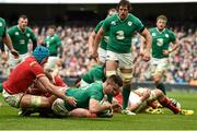 7 February 2016; Ireland's Conor Murray scores his side's first try of the game. RBS Six Nations Rugby Championship 2016, Ireland v Wales. Aviva Stadium, Lansdowne Road, Dublin. Picture credit: Brendan Moran / SPORTSFILE