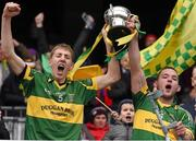 7 February 2016; The Glenmore captains Philip Roche and Ger Aylward, right, lift the cup. AIB GAA Hurling All-Ireland Junior Club Championship Final, Eoghan Rua v Glenmore. Croke Park, Dublin. Picture credit: Ray McManus / SPORTSFILE