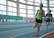 7 February 2016; Peter Gaffney, Metro/ St. Brigid's A.C, left, and Damien Landers, Ennis Track A.C.,in action during the Men's 800m. GloHealth AAI Games. AIT, Dublin Rd, Athlone, Co. Westmeath. Picture credit: Sam Barnes / SPORTSFILE