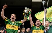 7 February 2016; Philip Roche, left, and Ger Aylward, Glenmore, lift the cup. AIB GAA Hurling All-Ireland Junior Club Championship Final, Eoghan Rua v Glenmore. Croke Park, Dublin. Picture credit: Cody Glenn / SPORTSFILE