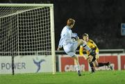 2 December 2009; Sean Houston, UCD, scores his side's third goal. Under-20 Dr. Tony O'Neill League of Ireland Cup Final, UCD v Salthill Devon, UCD Bowl, Belfield, Dublin. Picture credit: David Maher / SPORTSFILE
