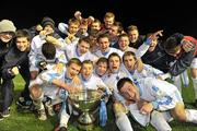 2 December 2009; UCD players celebrate with the cup at the end of the game. Under-20 Dr. Tony O'Neill League of Ireland Cup Final, UCD v Salthill Devon, UCD Bowl, Belfield, Dublin. Picture credit: David Maher / SPORTSFILE