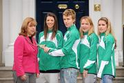 4 December 2009; Lord Mayor of Dublin Emer Costello gives members of the Irish Cross Country Team, from left, Dundrum South Dublin AC's Bryony Treston, Brendan O'Neill, and Linda Byrne, right, with Raheny Shamrocks AC's Orla O'Mahony, a closer look at the Mayoral Chain, during an invite to the Mansion House this morning ahead of the Spar European Cross Country Championships which take place in Santry Park, Dublin on December 13th. More information on www.dublin2009.ie. Mansion House, Dawson Street, Dublin. Picture credit: Brian Lawless / SPORTSFILE