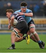 8 February 2016; Jack Dunne, St Michael's College, is tackled by Jeff Clarkin, Terenure College. St Michael's College v Terenure College - Bank of Ireland Leinster Schools Senior Cup 2nd Round. Donnybrook Stadium, Donnybrook, Dublin. Picture credit: Sam Barnes / SPORTSFILE