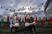 9 February 2016; Former Republic of Ireland International Jason McAteer, current Republic of Ireland women's star Aine O'Gorman and SPAR National Sales Director, Colin Donnelly, were on hand to help launch the 2016 SPAR FAI Primary School 5s Programme. The fun five-a-side schools competition is open to boys and girls from 4th, 5th and 6th class. County blitzes will begin at the end of February and the winners will then progress to regional, provincial and the prestigious national finals which will be held in the Aviva Stadium on May 11th. For further information or to register your school please see www.spar.ie or www.faischools.ie. In attendance at the launch was Jason McAteer and Aine O'Gorman with children from schools, St. Bernadette's Quarryvale, Clondalkin, and St Patrick's BNS, Ringsend, Dublin. Lansdowne Astro Pitch, Lansdowne Rd, Dublin 4. Picture credit: David Maher / SPORTSFILE