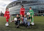 9 February 2016; Former Republic of Ireland International Jason McAteer, current Republic of Ireland women's star Aine O'Gorman and SPAR National Sales Director, Colin Donnelly, were on hand to help launch the 2016 SPAR FAI Primary School 5s Programme. The fun five-a-side schools competition is open to boys and girls from 4th, 5th and 6th class. County blitzes will begin at the end of February and the winners will then progress to regional, provincial and the prestigious national finals which will be held in the Aviva Stadium on May 11th. For further information or to register your school please see www.spar.ie or www.faischools.ie. In attendance at the launch was Jason McAteer and Aine O'Gorman with children from left, Abbie Tucker, age 11, from Clondalkin, Dublin, Sharon Adeyinka, age 12, Clondalkin, Dublin, and Filip Wyporski, age 11, from Ringsend, Dublin. Lansdowne Astro Pitch, Lansdowne Rd, Dublin 4. Picture credit: David Maher / SPORTSFILE