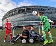 9 February 2016; Former Republic of Ireland International Jason McAteer, current Republic of Ireland women's star Aine O'Gorman and SPAR National Sales Director, Colin Donnelly, were on hand to help launch the 2016 SPAR FAI Primary School 5s Programme. The fun five-a-side schools competition is open to boys and girls from 4th, 5th and 6th class. County blitzes will begin at the end of February and the winners will then progress to regional, provincial and the prestigious national finals which will be held in the Aviva Stadium on May 11th. For further information or to register your school please see www.spar.ie or www.faischools.ie. In attendance at the launch was Jason McAteer and Aine O'Gorman with  Abbie Tucker, age 11, from Clondalkin, Dublin, and Filip Wyporski, age 11, from Ringsend, Dublin. Lansdowne Astro Pitch, Lansdowne Rd, Dublin 4. Picture credit: David Maher / SPORTSFILE