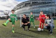 9 February 2016; Former Republic of Ireland International Jason McAteer, current Republic of Ireland women's star Aine O'Gorman and SPAR National Sales Director, Colin Donnelly, were on hand to help launch the 2016 SPAR FAI Primary School 5s Programme. The fun five-a-side schools competition is open to boys and girls from 4th, 5th and 6th class. County blitzes will begin at the end of February and the winners will then progress to regional, provincial and the prestigious national finals which will be held in the Aviva Stadium on May 11th. For further information or to register your school please see www.spar.ie or www.faischools.ie. In attendance at the launch was Jason McAteer and Aine O'Gorman with children from left, Filip Wyporski, age 11, from Ringsend, Dublin, Nikita Riscovoi, age 11, from Ringsend, Dublin, and Abbie Tucker, age 11, from Clondalkin, Dublin. Lansdowne Astro Pitch, Lansdowne Rd, Dublin 4. Picture credit: David Maher / SPORTSFILE