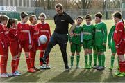 9 February 2016; Former Republic of Ireland International Jason McAteer, current Republic of Ireland women's star Aine O'Gorman and SPAR National Sales Director, Colin Donnelly, were on hand to help launch the 2016 SPAR FAI Primary School 5s Programme. The fun five-a-side schools competition is open to boys and girls from 4th, 5th and 6th class. County blitzes will begin at the end of February and the winners will then progress to regional, provincial and the prestigious national finals which will be held in the Aviva Stadium on May 11th. For further information or to register your school please see www.spar.ie or www.faischools.ie. In attendance at the launch was Jason McAteer with children from schools, St. Bernadette's Quarryvale, Clondalkin, and St. Patrick's NBS, Ringsend. Lansdowne Astro Pitch, Lansdowne Rd, Dublin 4. Picture credit: David Maher / SPORTSFILE