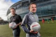 9 February 2016; Former Republic of Ireland International Jason McAteer, current Republic of Ireland women's star Aine O'Gorman and SPAR National Sales Director, Colin Donnelly, were on hand to help launch the 2016 SPAR FAI Primary School 5s Programme. The fun five-a-side schools competition is open to boys and girls from 4th, 5th and 6th class. County blitzes will begin at the end of February and the winners will then progress to regional, provincial and the prestigious national finals which will be held in the Aviva Stadium on May 11th. For further information or to register your school please see www.spar.ie or www.faischools.ie. In attendance at the launch was Aine O'Gorman and Jason McAteer. Lansdowne Astro Pitch, Lansdowne Rd, Dublin 4. Picture credit: David Maher / SPORTSFILE