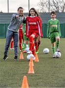9 February 2016; Former Republic of Ireland International Jason McAteer, current Republic of Ireland women's star Aine O'Gorman and SPAR National Sales Director, Colin Donnelly, were on hand to help launch the 2016 SPAR FAI Primary School 5s Programme. The fun five-a-side schools competition is open to boys and girls from 4th, 5th and 6th class. County blitzes will begin at the end of February and the winners will then progress to regional, provincial and the prestigious national finals which will be held in the Aviva Stadium on May 11th. For further information or to register your school please see www.spar.ie or www.faischools.ie. In attendance at the launch was Aine O'Gorman with Ella D'Arcy, age 11 from Clondalkin Co.Dublin. Lansdowne Astro Pitch, Lansdowne Rd, Dublin 4. Picture credit: David Maher / SPORTSFILE