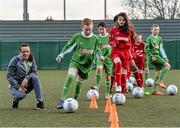 9 February 2016; Former Republic of Ireland International Jason McAteer, current Republic of Ireland women's star Aine O'Gorman and SPAR National Sales Director, Colin Donnelly, were on hand to help launch the 2016 SPAR FAI Primary School 5s Programme. The fun five-a-side schools competition is open to boys and girls from 4th, 5th and 6th class. County blitzes will begin at the end of February and the winners will then progress to regional, provincial and the prestigious national finals which will be held in the Aviva Stadium on May 11th. For further information or to register your school please see www.spar.ie or www.faischools.ie. In attendance at the launch was Aine O'Gorman with Luke Power, age 11, from Ringsend, Dublin. Lansdowne Astro Pitch, Lansdowne Rd, Dublin 4. Picture credit: David Maher / SPORTSFILE