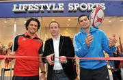 8 December 2009; Lifestyle Sports, Ireland's biggest player in sport this Christmas, unveiled it's latest store on Patrick Street in Cork City earlier today. Pictured officially opening the store is Mark Stafford, CEO, Lifestyle Sports, with Cork hurling star Seán Óg Ó hAilpín and Munster's Doug Howlett. Patrick Street, Cork. Picture credit: Brian Lawless / SPORTSFILE