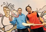 8 December 2009; Lifestyle Sports, Ireland's biggest player in sport this Christmas, unveiled it's latest store on Patrick Street in Cork City earlier today. Pictured are Cork hurling star Seán Óg Ó hAilpín and Munster's Doug Howlett in front of a specially commissioned Graffiti Mural of themselves which was erected in front of the store during the weekend. Patrick Street, Cork. Picture credit: Brian Lawless / SPORTSFILE
