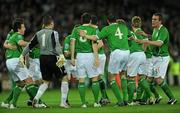 14 November 2009; The Republic of Ireland team break from their huddle ahead of the game. FIFA 2010 World Cup Qualifying Play-off 1st Leg, Republic of Ireland v France, Croke Park, Dublin. Picture credit: Stephen McCarthy / SPORTSFILE