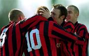 25 March 2001; Bohemians goalscorer Glen Crowe, 10, is congratulated by team-mates, from left, Gary O'Neill, Trevor Molloy and Stephen Caffrey. Kilkenny City v Bohemians, FAI Harp Lager Cup, Quarter Final, Buckley Park, Kilkenny. Soccer. Picture credit; Matt Browne / SPORTSFILE