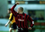 25 March 2001; Gary O'Neill, Bohemians celebrates scoring against Kilkenny City. Kilkenny City v Bohemians, FAI Harp Lager Cup, Quarter Final, Buckley Park, Kilkenny. Soccer. Picture credit; Matt Browne / SPORTSFILE