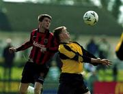 25 March 2001; Richie Purdy, Kilkenny goes up for the ball with Jimmy Fullam, Bohemians. Kilkenny City v Bohemians, FAI Harp Lager Cup, Quarter Final, Buckley Park, Kilkenny. Soccer. Picture credit; Matt Browne / SPORTSFILE