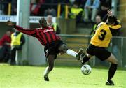 25 March 2001; Mark Rutherford, Bohemians in action against Robbie Brunton, 3, Kilkenny. Kilkenny City v Bohemians, FAI Harp Lager Cup, Quarter Final, Buckley Park, Kilkenny. Soccer. Picture credit; Matt Browne / SPORTSFILE