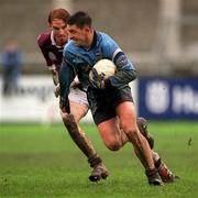 8 April 2001; Dublin's Senan Connell, in action against Lorcan Colleran, Galway. Dublin v Galway, National Football League, Parnell Park, Dublin. Picture credit; Ray McManus / SPORTSFILE