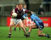 4 April 2001; Galway's Lorcan Colleran, in action against Dublin's Michael Casey. Dublin v Galway, National Football League, Parnell Park, Dublin. Picture credit; Ray McManus / SPORTSFILE