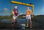 10 February 2016; Pictured at the launch of the 2016 Allianz Hurling League are Antrim's Liam Watson, right, and Wexford's Lee Chin. Wexford will face Limerick in the opening round of the Allianz Hurling League Division 1 in the Gaelic Grounds, Limerick, this Saturday, February 13th, whilst Antrim face Derry in the first round of Division 2 in Owenbeg, Co. Derry, on Sunday, February 14th. Harland & Wolf site, Belfast, Co. Antrim. Picture credit: Paul Mohan / SPORTSFILE