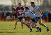 10 February 2016; Kieran McGeary, St Mary's University College, in action against Ryan McAnespie and Niall McKeever, University of Ulster Jordanstown. Independent.ie HE GAA Sigerson Cup, Quarter-Final, University of Ulster Jordanstown v St Mary's University College, UUJ, Jordanstown, Co. Antrim. Picture credit: Oliver McVeigh / SPORTSFILE