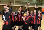 10 February 2016; IT Carlow captain Rachel Graham lifts the cup alongside team-mates after defeating IT Sligo in the WSCAI Futsal Final. University of Limerick, Limerick. Picture credit: Diarmuid Greene / SPORTSFILE