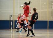 10 February 2016; Rachel Kearns, IT Sligo, in action against Rachel Graham, IT Carlow. WSCAI Futsal Finals. University of Limerick, Limerick. Picture credit: Diarmuid Greene / SPORTSFILE